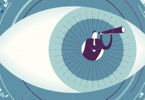 Graphic of man standing in centre of human eye with visual search telescope